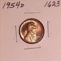 1954 D LINCOLN WHEAT CENT 1623, CHOICE - FREE-SHIPPING