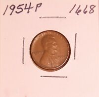 1954 P LINCOLN WHEAT CENT 1668, EXTRA FINE-FREE-SHIPPING