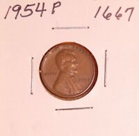1954 P LINCOLN WHEAT CENT 1667, EXTRA FINE-FREE-SHIPPING