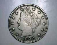 1902 LIBERTY NICKEL  FULL 'LIBERTY'  COIN WITH LOTS OF DETAIL