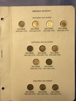 1954 1958 EGYPT COMPLETE SET OF 12 COINS 1 MILLIEME  SPHINX