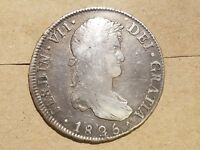 1825 BOLIVIA 8 REALES PTS JL SILVER FERDINAND VII PIECE OF EIGHT  COIN KM 84