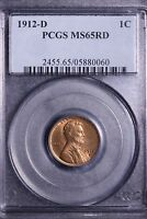 1912-D LINCOLN WHEAT CENT PENNY PCGS MINT STATE 65RD - BEAUTIFUL            7-2UCCLE