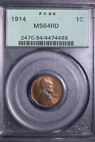1914 LINCOLN WHEAT CENT PENNY PCGS MINT STATE 64RD OGH            7-9UNTL