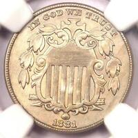 1881 SHIELD NICKEL 5C COIN - NGC UNCIRCULATED DETAILS MS BU UNC -  DATE