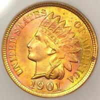 1901 INDIAN CENT 1C PENNY - ICG MINT STATE 65 RD RED -  IN MINT STATE 65 - $525 VALUE