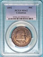 1892 MINT STATE 62 DETAILS COLUMBIAN EXPO UNCIRCULATED UNC COMMEMORATIVE 90 SILVER HALF