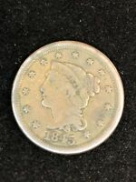 1845 BRAIDED HAIR LARGE CENT 173 YEARS OLD