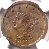 1849 BRAIDED HAIR HALF CENT 1/2C - NGC UNCIRCULATED DETAILS BU MS UNC