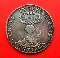SILVER COIN 1 PESO INDEPENDIENTE DE CHILE. 1834. COUNTERMARK YII