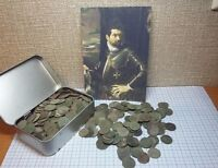 50 PCS. UNCLEANED COINS SOLIDUS COPPER 1660 66 JOHN LL CASIMIR LITHUANIA POLAND
