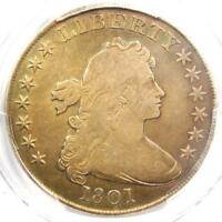 1801 DRAPED BUST SILVER DOLLAR $1 - CERTIFIED PCGS FINE DETAILS -  COIN