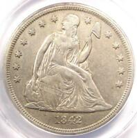 1842 SEATED LIBERTY SILVER DOLLAR $1 COIN - CERTIFIED ANACS EXTRA FINE 40 DETAILS EF40