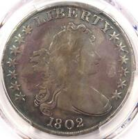 1802 DRAPED BUST SILVER DOLLAR $1 COIN - CERTIFIED PCGS FINE DETAIL -