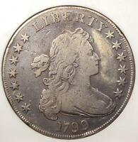 1799 DRAPED BUST SILVER DOLLAR $1 - ANACS VF DETAILS / NET VG10 -  COIN