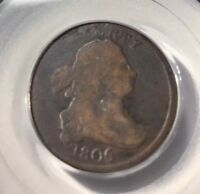1806 SMALL 6 WITH STEMS HALF CENT