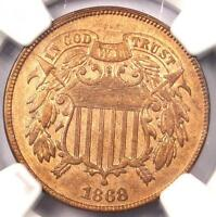 1868 TWO CENT COIN 2C - NGC AU DETAILS -  CERTIFIED COIN