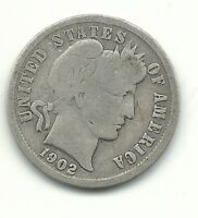 VINTAGE  GOOD VG CONDITION 1902 P BARBER SILVER DIME COIN-OLD US COIN-MAR455