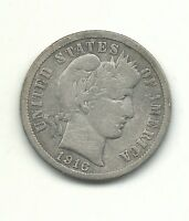VINTAGE VG/FINE CONDITION 1916 P BARBER SILVER DIME COIN-OLD US COIN-MAR357