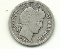 VINTAGE FINE CONDITION 1914 D BARBER SILVER DIME COIN-OLD US COIN-MAR560