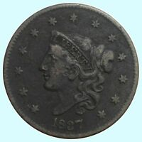 1837 1C MEDIUM LETTERS BN CORONET HEAD CENT
