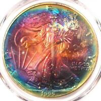 1995 TONED AMERICAN SILVER EAGLE DOLLAR $1 ASE - PCGS MINT STATE 67 - RAINBOW TONING COIN