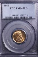 1926 LINCOLN WHEAT CENT PENNY PCGS MINT STATE 65RD             8-9THM
