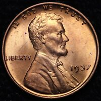 BU 1937 LINCOLN WHEAT CENT PENNY            R9QN