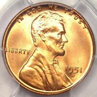 1951-D LINCOLN WHEAT CENT 1C - PCGS MINT STATE 67 RD -   IN MINT STATE 67 GRADE