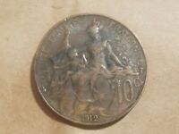 1912 FRANCE 10 CENTIMES FRENCH TEN CENT COIN 1/10 FRANC