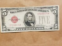 1928 F $5 UNITED STATES NOTE RED SEAL FIVE DOLLAR BILL FR. 1531 NICE