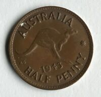DATED : 1943   AUSTRALIA   HALF PENNY   COIN   KING GEORGE VI