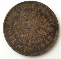 DATED : 1943   NEW ZEALAND   ONE PENNY   1D   COIN   KING GEORGE VI