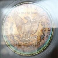 1885 O MORGAN SILVER DOLLAR ICG MINT STATE 65 AMAZING DUEL SIDED RAINBOWS