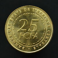 CENTRAL AFRICAN STATES 25 CAF FRANCS 2006. KM20. UNC COIN. AFRICA