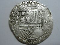 PHILIP II BOLIVIA 2 REAL COB POTOSI ASSAYER B SPAIN COLONIAL SILVER
