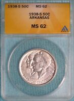 1938-S MINT STATE 62 ARKANSAS CENTENNIAL EARLY COMMEMORATIVE HALF SILVER UNCIRCULATED