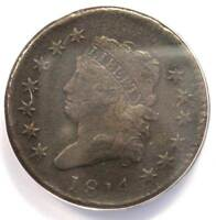 1814 CLASSIC LIBERTY LARGE CENT 1C COIN - ANACS VF20 DETAILS -  DATE PENNY