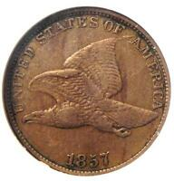 1857 DDO FLYING EAGLE CENT 1C - NGC EXTRA FINE 40 EF40 -  EARLY CERTIFIED PENNY
