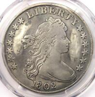 1802 DRAPED BUST SILVER DOLLAR $1 COIN - CERTIFIED PCGS VF DETAILS -