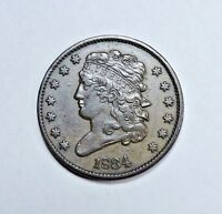 1834 HALF CENT AU ALMOST UNCIRCULATED CONDITION CLASSIC HEAD