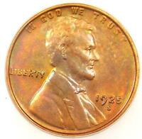 1925-S LINCOLN WHEAT CENT 1C - ICG MINT STATE 60 DETAILS -  DATE MS BU PENNY