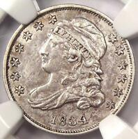 1834 CAPPED BUST DIME 10C JR-5 - NGC AU DETAILS -  EARLY DATE CERTIFIED COIN