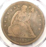 1843 SEATED LIBERTY SILVER DOLLAR $1 - PCGS FINE DETAILS -  CERTIFIED COIN