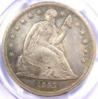 1843 SEATED LIBERTY SILVER DOLLAR $1 - PCGS EXTRA FINE  DETAIL -  EARLY DATE COIN