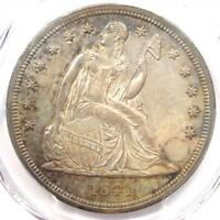 1841 SEATED LIBERTY SILVER DOLLAR $1 COIN - PCGS UNCIRCULATED DETAIL UNC MS