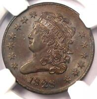 1828 CLASSIC HEAD HALF CENT 1/2C - NGC UNCIRCULATED DETAIL UNC MS -  COIN