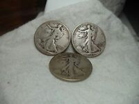1941, 1943 & 1943 D WALKING LIBERTY HALF DOLLAR LOT OF THREE