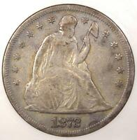 1872 SEATED LIBERTY SILVER DOLLAR $1 - ANACS VF DETAILS / NET F12 -  COIN