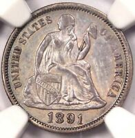 1891 SEATED LIBERTY DIME 10C - NGC UNCIRCULATED UNC MS -  CERTIFIED COIN